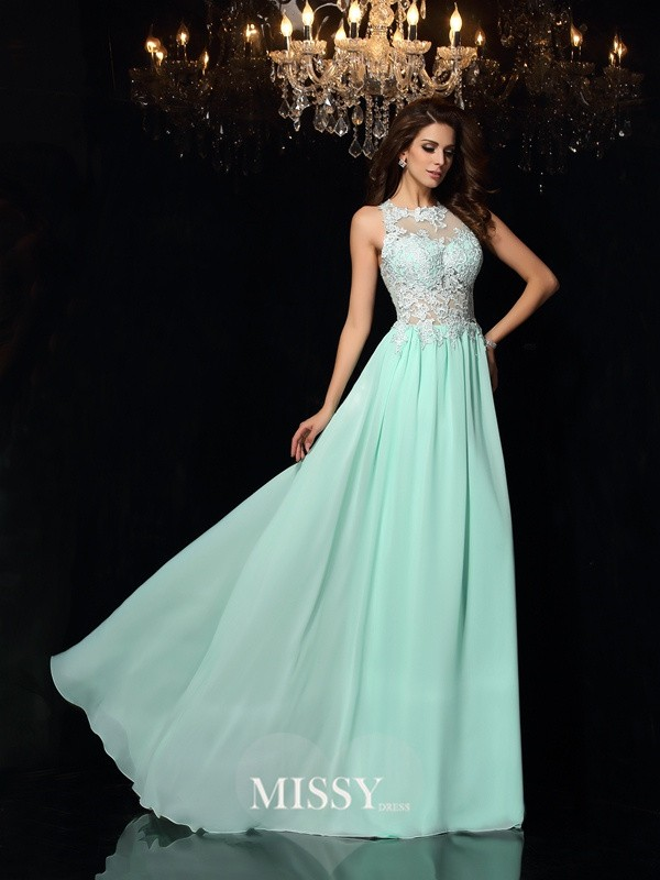 A-Line/Princess High Neck Chiffon Sweep/Brush Train Applique Dresses