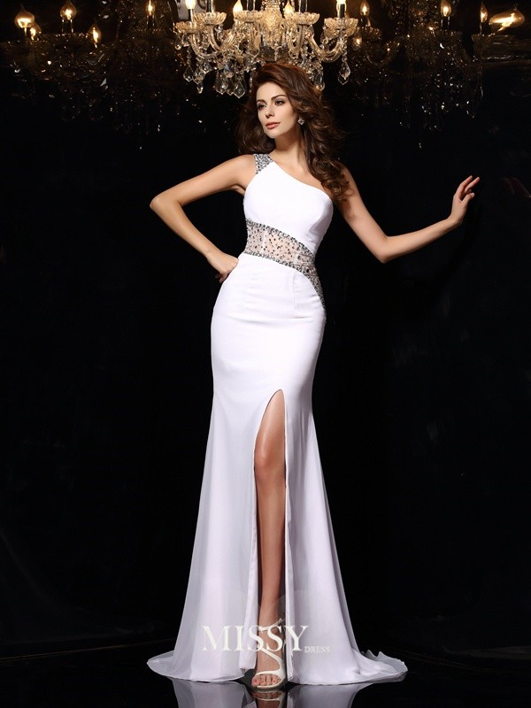 Sheath/Column One-Shoulder Chiffon Beading Sweep/Brush Train Dresses