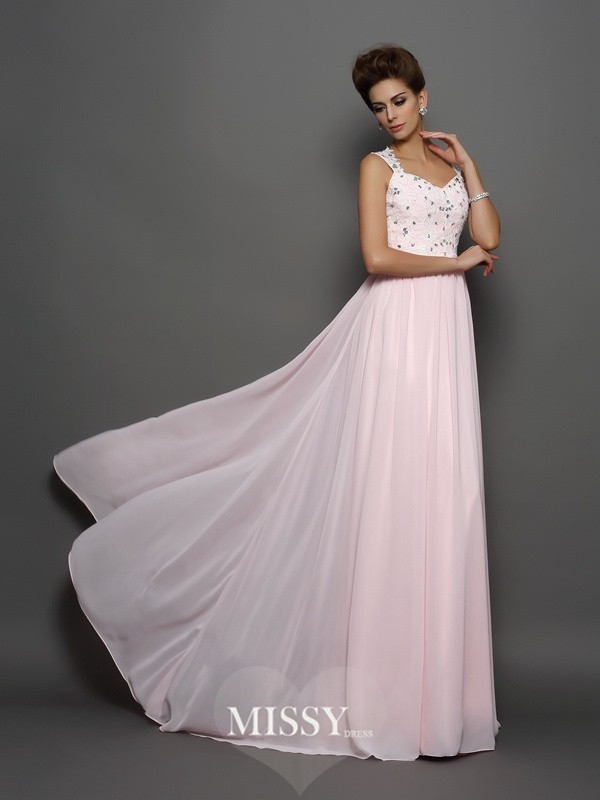 A-Line/Princess Straps Chiffon Beading Sweep/Brush Train Dresses