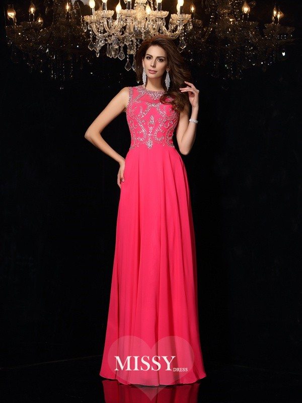 A-Line/Princess Scoop Beading Chiffon Floor-Length Dresses