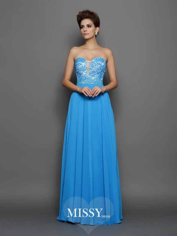A-Line/Princess Sweetheart Applique Chiffon Floor-Length Dresses