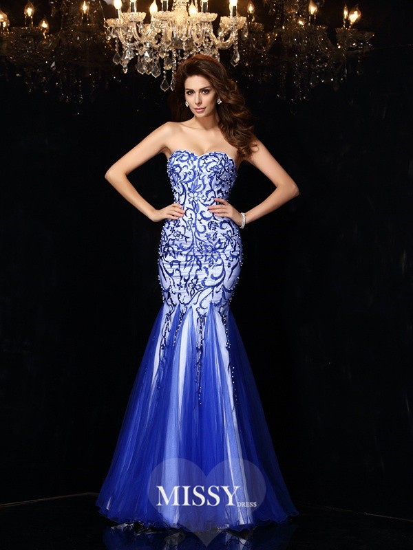 Sheath/Column Sweetheart Beading Net Floor-Length Dresses