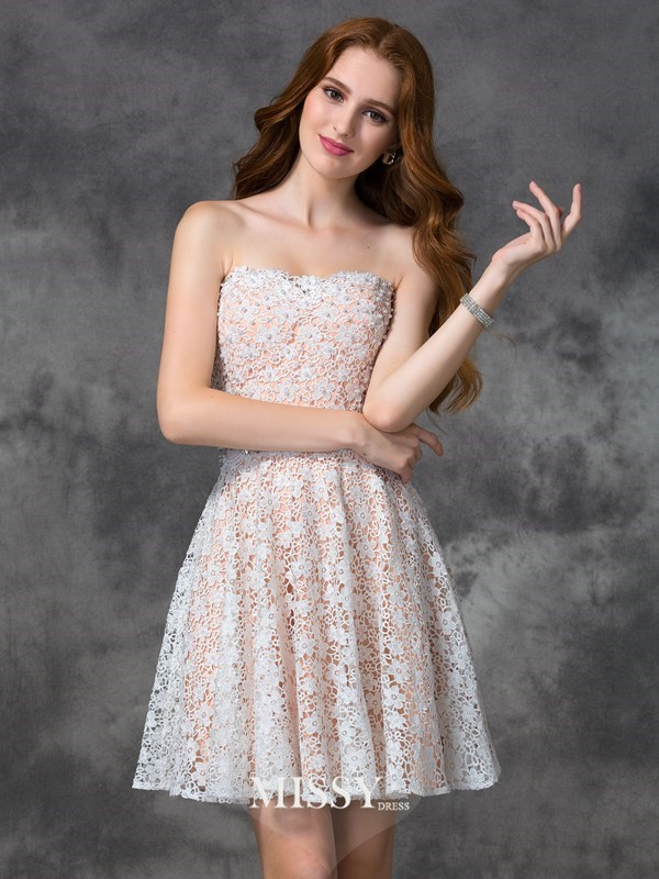 A-line/Princess Sweetheart Lace Short/Mini Cocktail Dresses
