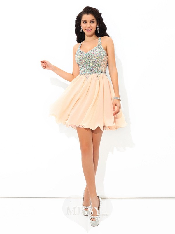 A-Line/Princess Straps Sleeveless Rhinestone Short/Mini Chiffon Cocktail Dress