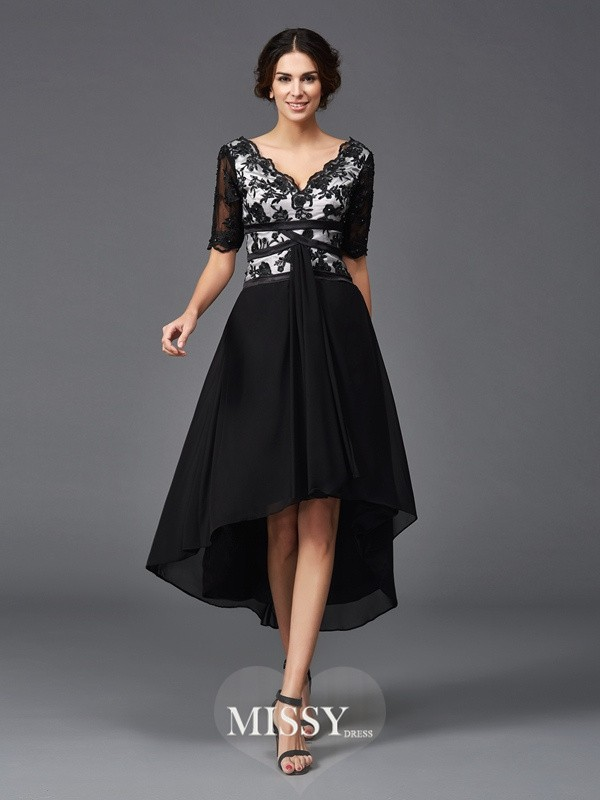 Princess V-neck 1/2 Sleeves Lace Asymmetrical Chiffon Dresses