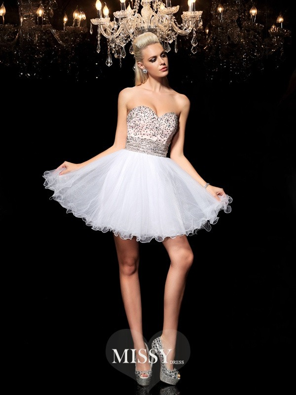 A-Line/Princess Sweetheart Sleeveless Beading Short Net Cocktail Dresses