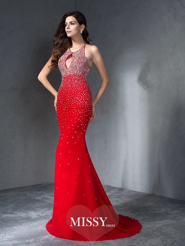Trumpet/Mermaid Halter Sleeveless Beading Chiffon Sweep/Brush Train Dress