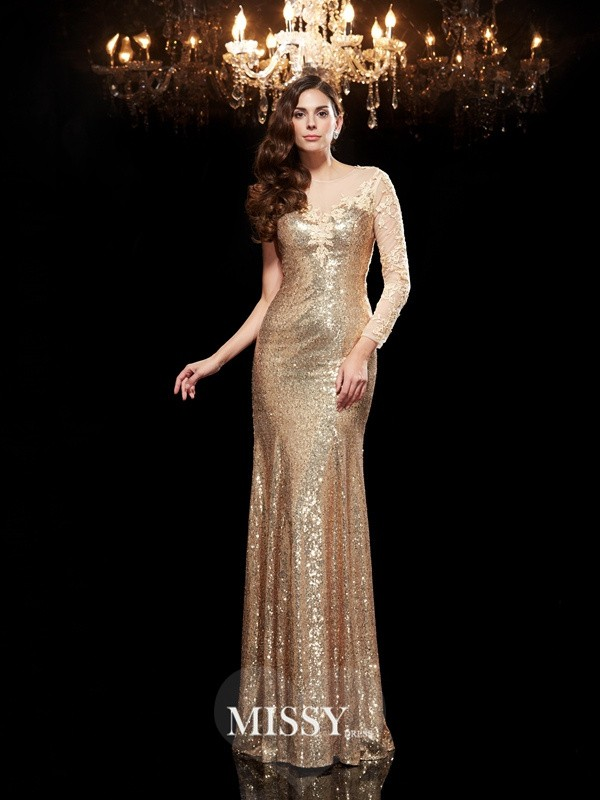 Trumpet Scoop 3/4 Sleeves Lace Sequins Floor-Length Dresses