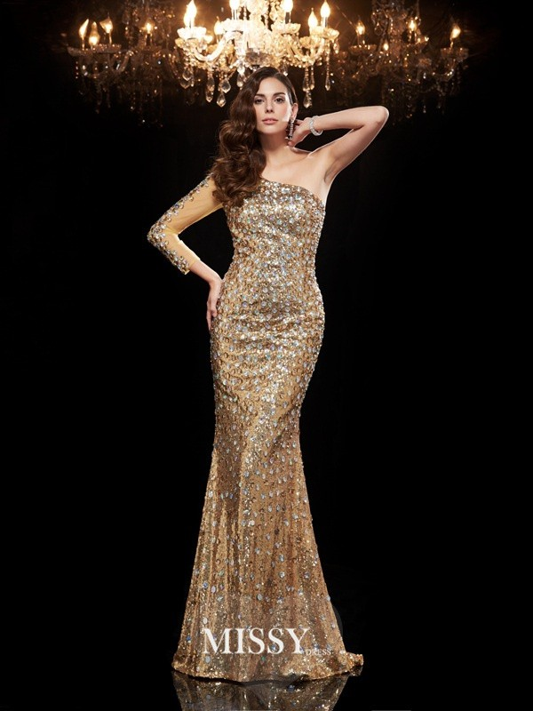 Mermaid One-Shoulder 3/4 Sleeves Sequins Floor-Length Dresses