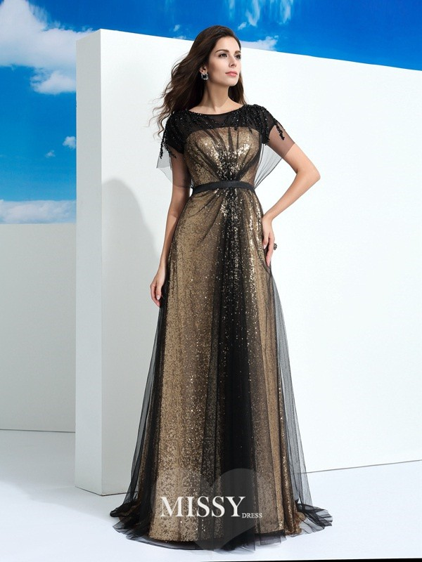 A-Line/Princess Sheer Neck Short Sleeves Paillette Floor-Length Net Dress