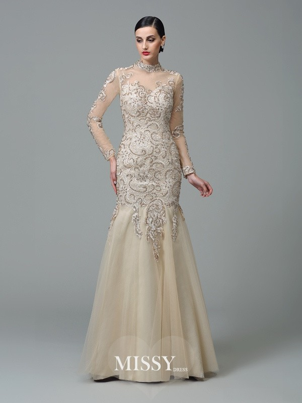 Sheath/Column High Neck Long Sleeves Floor-Length Net Dresses