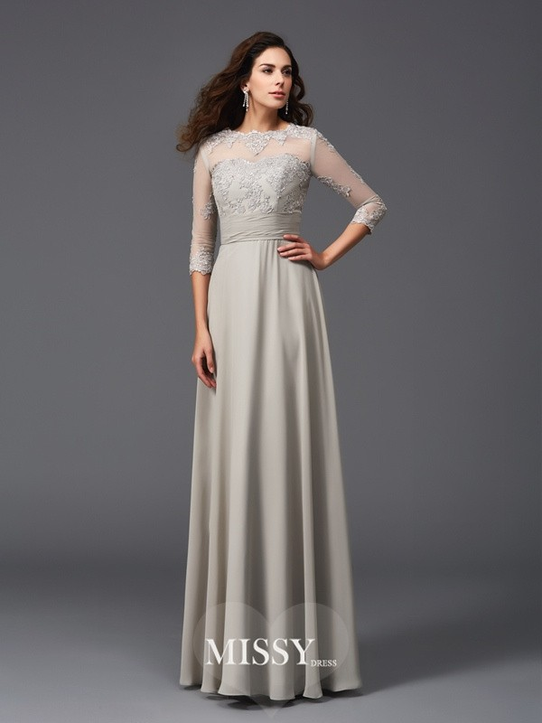 A-Line/Princess Scoop 3/4 Sleeves Applique Floor-Length Chiffon Dresses