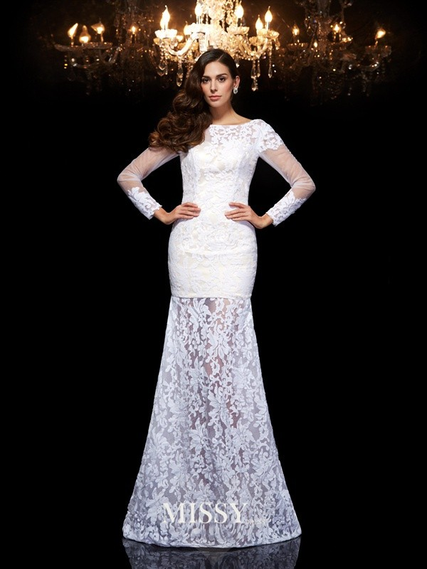 Trumpet/Mermaid Scoop 3/4 Sleeves Floor-Length Lace Dresses
