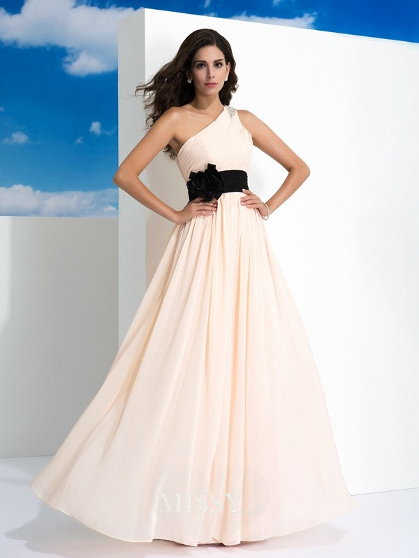 A-Line/Princess One-Shoulder Sleeveless Sash/Ribbon/Belt Floor-Length Chiffon Dress