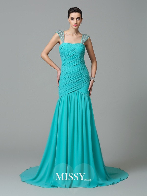 A-Line/Princess Straps Ruched Court Train Chiffon Dresses