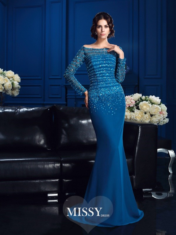 Column Off-the-Shoulder Long Sleeves Beading Sweep/Brush Train Chiffon Mother Of The Bride Dresses