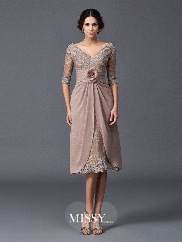 Princess V-neck 1/2 Sleeves Hand-Made Flower Tea-Length Lace Mother of the Bride Dresses