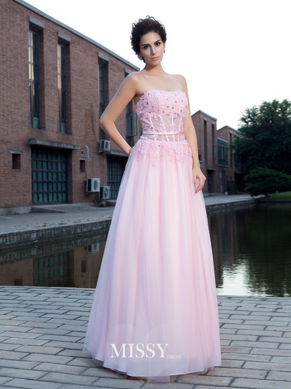 A-Line/Princess Sleeveless Straps Net Applique Floor-Length Dress