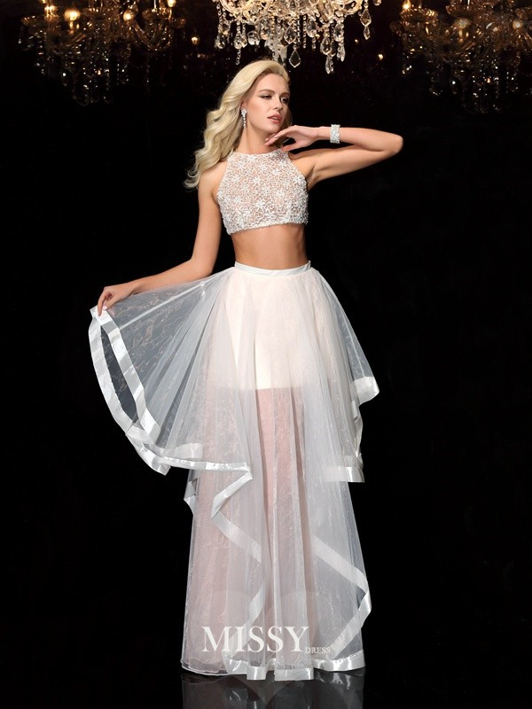 A-Line/Princess Scoop Applique Floor-Length Tulle Dresses