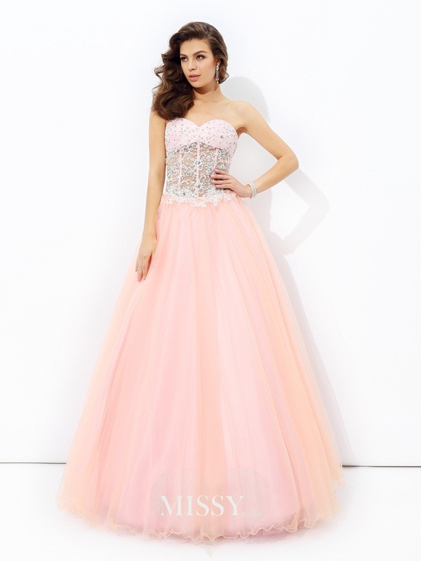 A-Line/Princess Sweetheart Sleeveless Lace Floor-length Net Dress