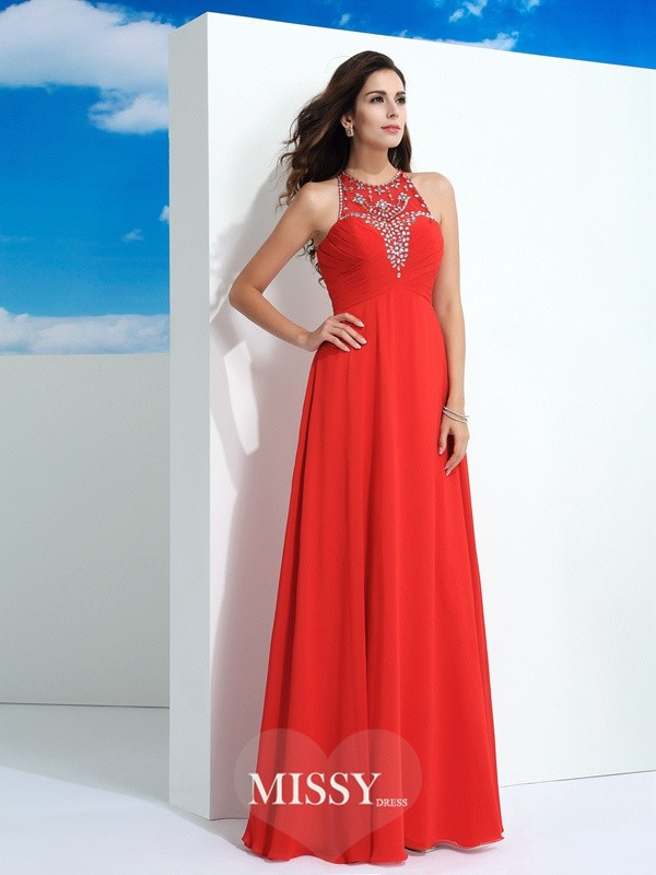 A-Line/Princess Sheer Neck Sleeveless Floor-Length Beading Chiffon Dress
