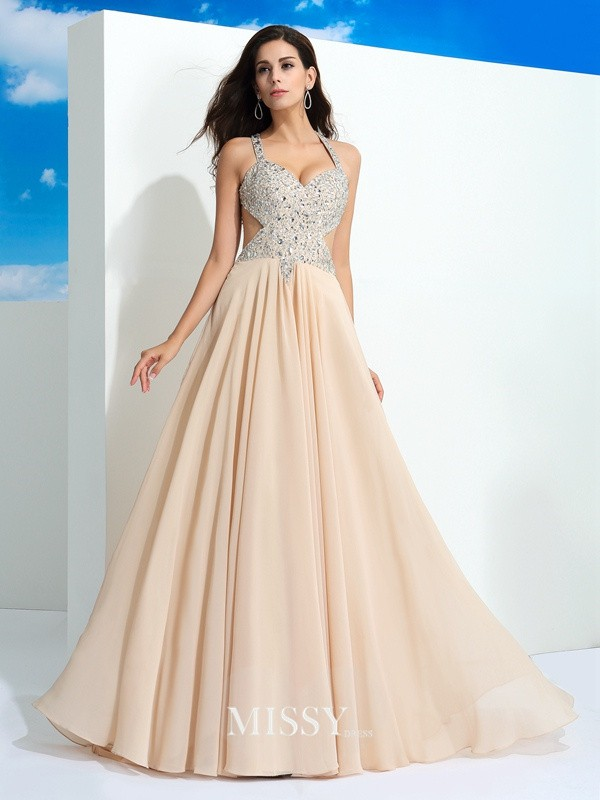 A-Line/Princess Straps Beading Sweep/Brush Train Chiffon Dress