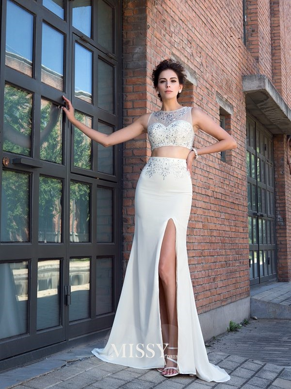 Sheath/Column High Neck Sleeveless Crystal Sweep/Brush Train Chiffon Two Piece Dress