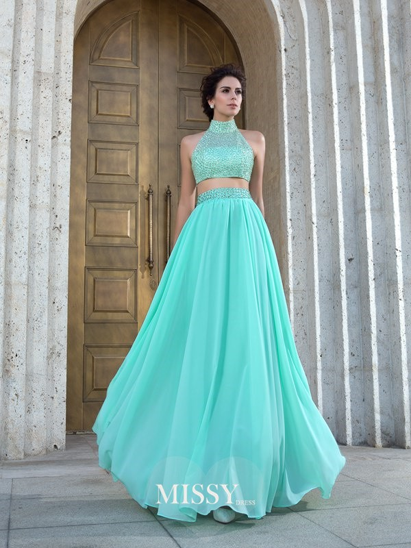 A-Line/Princess Sleeveless High Neck Chiffon Beading Floor-Length Two Piece Dress