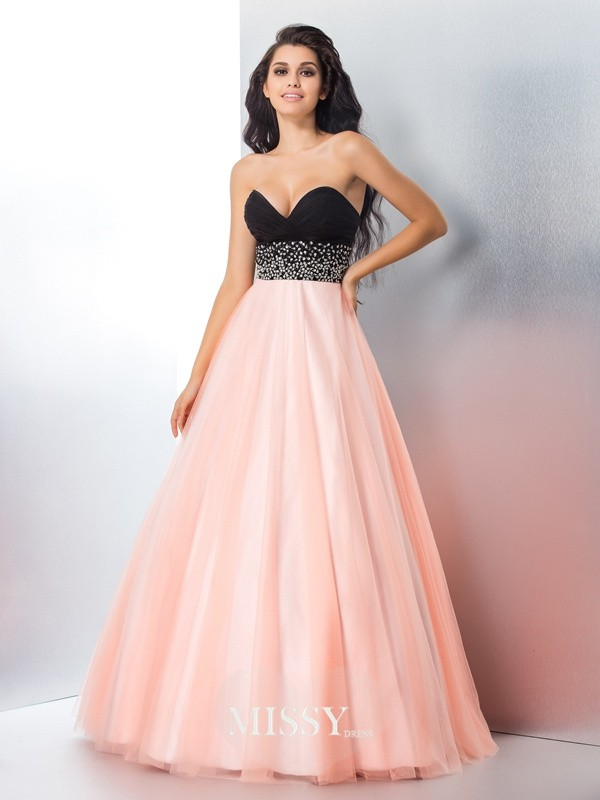 Ball Gown Sweetheart Beading Satin Floor-Length Dresses