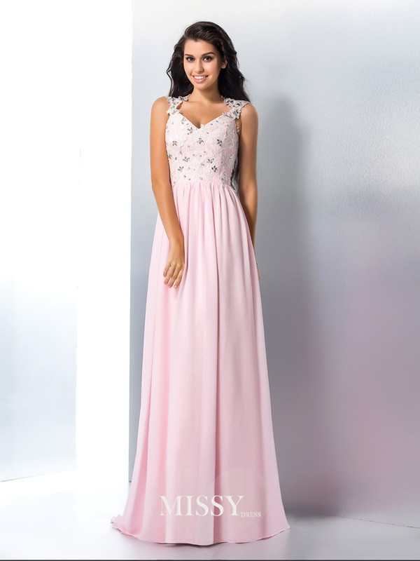 A-Line/Princess V-neck Applique Chiffon Sweep/Brush Train Dresses