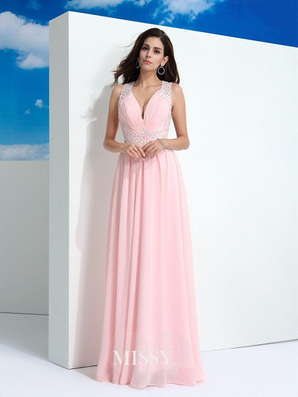 A-Line/Princess Straps Beading Floor-Length Chiffon Dress