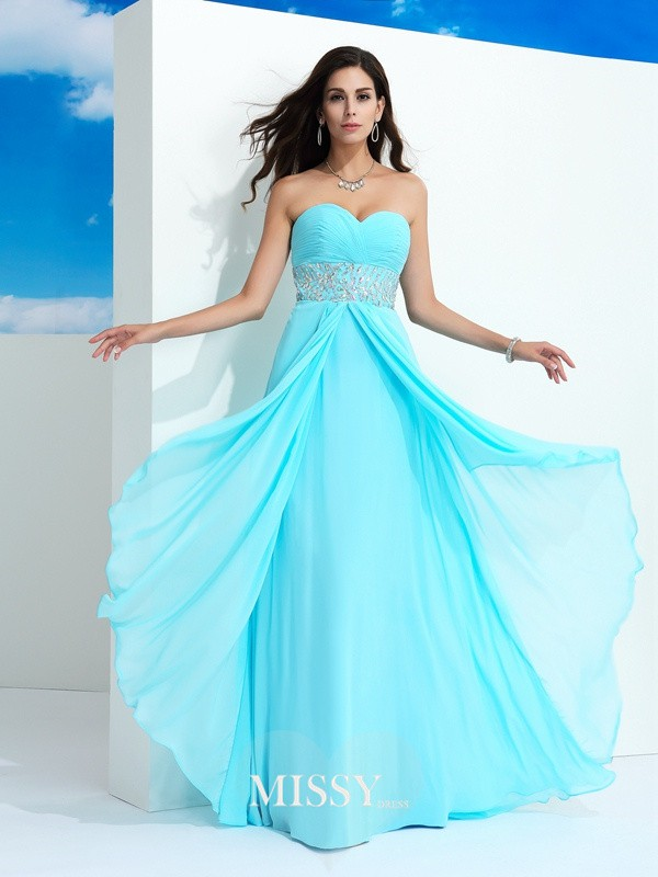 A-Line Sleeveless Beading Floor-Length Chiffon Dress