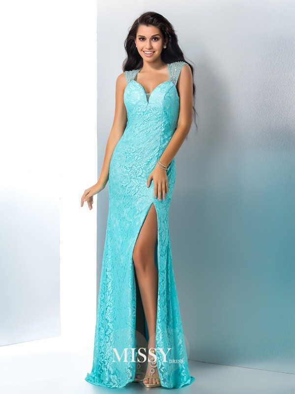 Sheath/Column Sweetheart Beading Lace Floor-Length Dresses