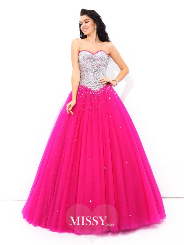 Ball Gown Sweetheart Sleeveless Beading Satin Quinceanera Dress