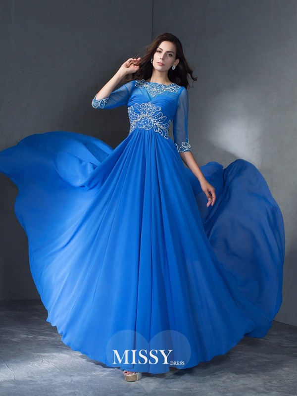 A-Line/Princess Scoop 1/2 Sleeves Beading Sweep/Brush Train Chiffon Dress