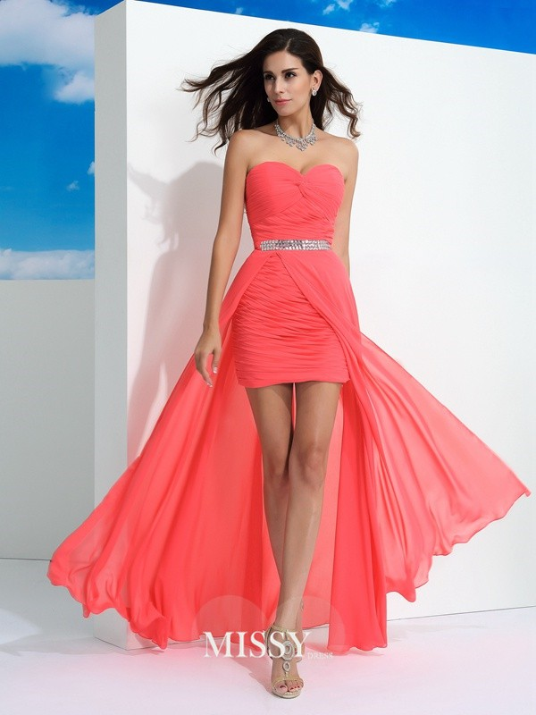 Sheath/Column Sweetheart Sleeveless Pleats Floor-Length Chiffon Dress