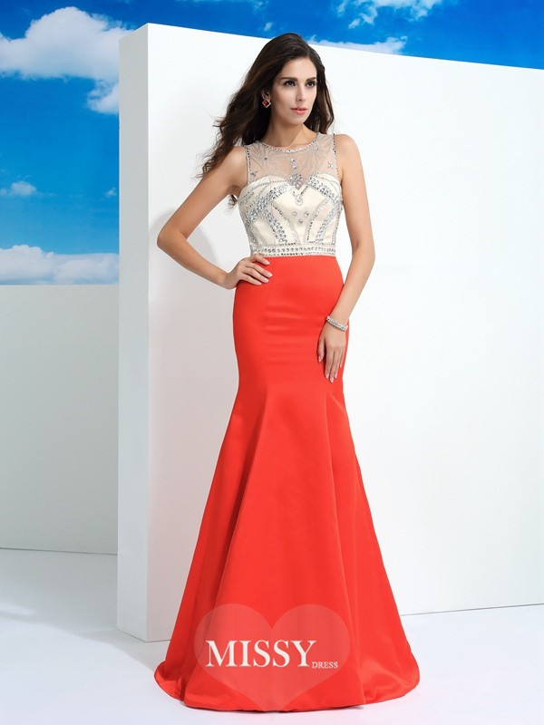 Trumpet/Mermaid Sheer Neck Sleeveless Beading Floor-Length Satin Dress