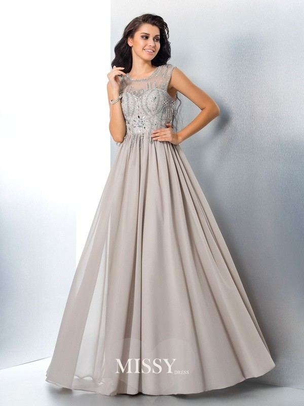 A-Line/Princess Sheer Neck Sleeveless Beading Chiffon Floor-Length Dress