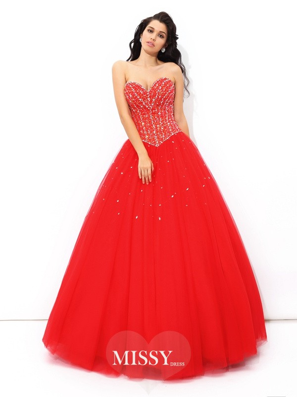 Ball Gown Sleeveless Beading Floor-Length Net Quinceanera Dress