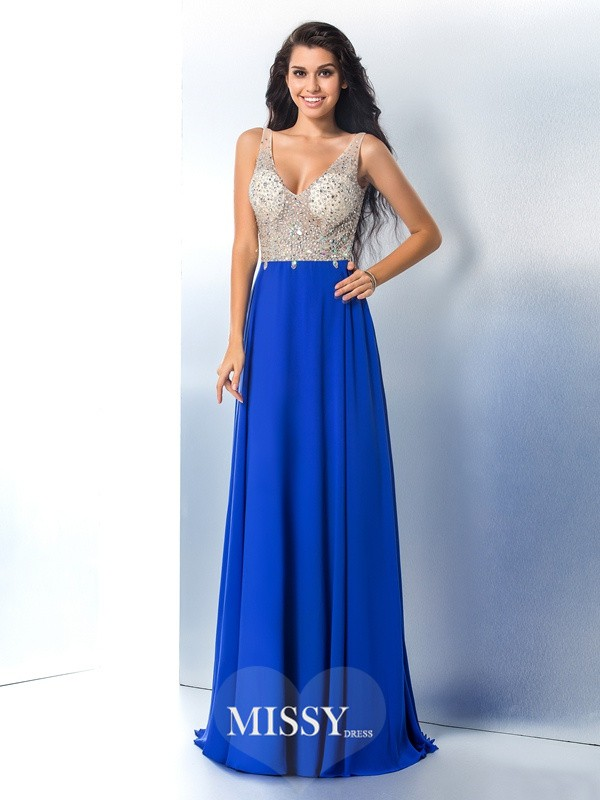 A-Line/Princess Straps Sleeveless Beading Chiffon Sweep/Brush Train Dress