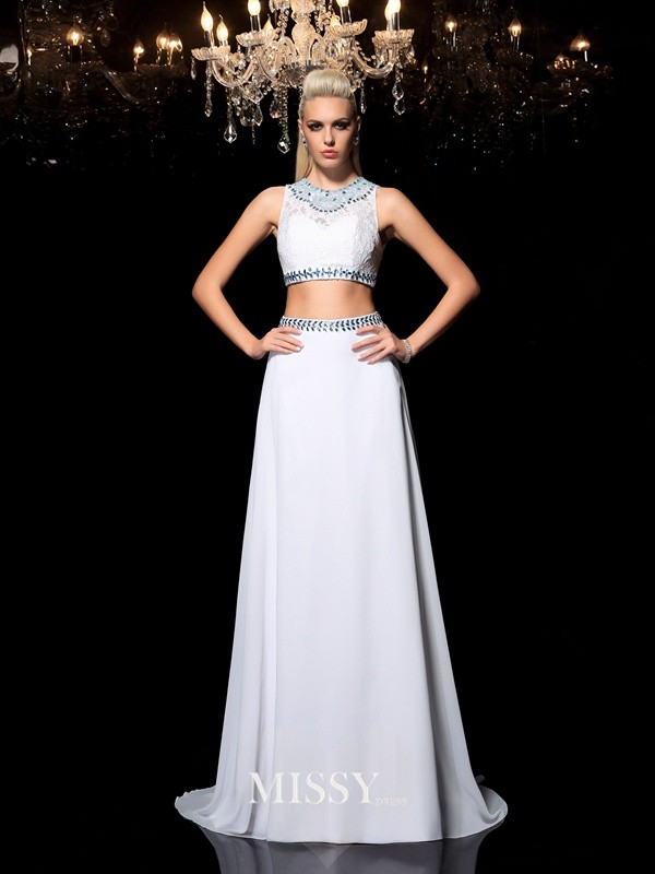 A-Line/Princess Jewel Beading Floor-Length Chiffon Two Piece Dresses