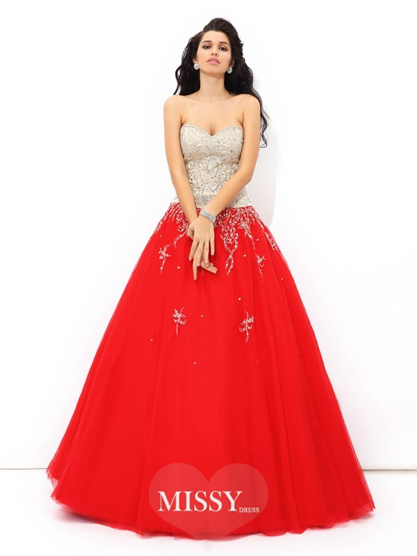 Ball Gown Sweetheart Beading Sleeveless Floor-Length Satin Quinceanera Dress