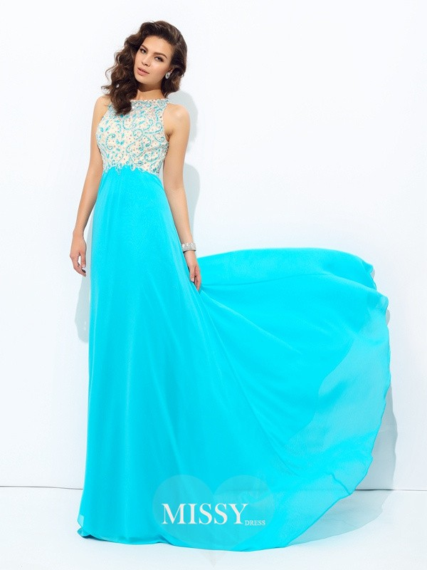 A-Line/Princess Scoop Chiffon Sleeveless Floor-Length Beading Dress
