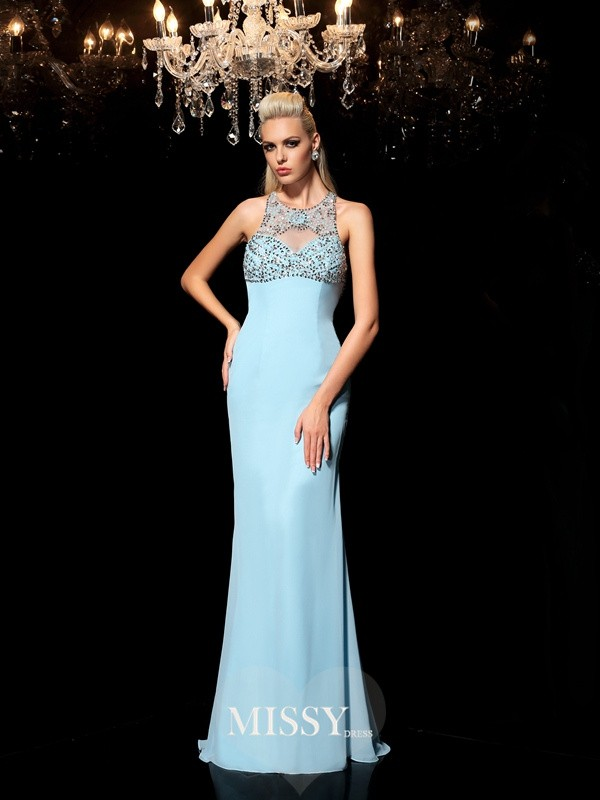 Sheer Neck Sleeveless Beading Floor-Length Chiffon Dress