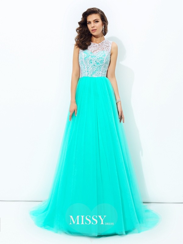 A-line/Princess Scoop Sleeveless Lace Sweep/Brush Train Net Dress
