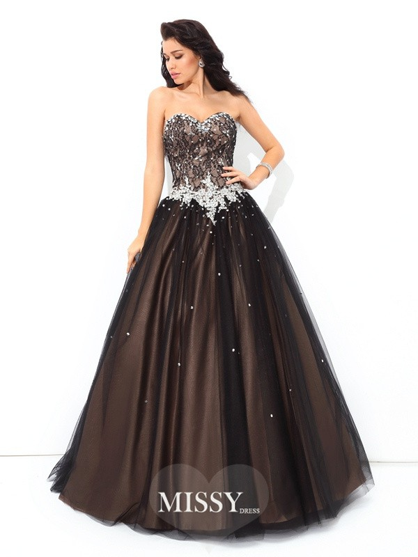Ball Gown Sweetheart Beading Sleeveless Floor-Length Net Quinceanera Dress