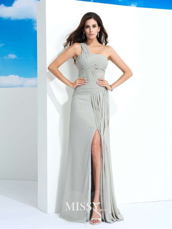 Sheath/Column One-Shoulder Sleeveless Pleats Floor-Length Chiffon Dress