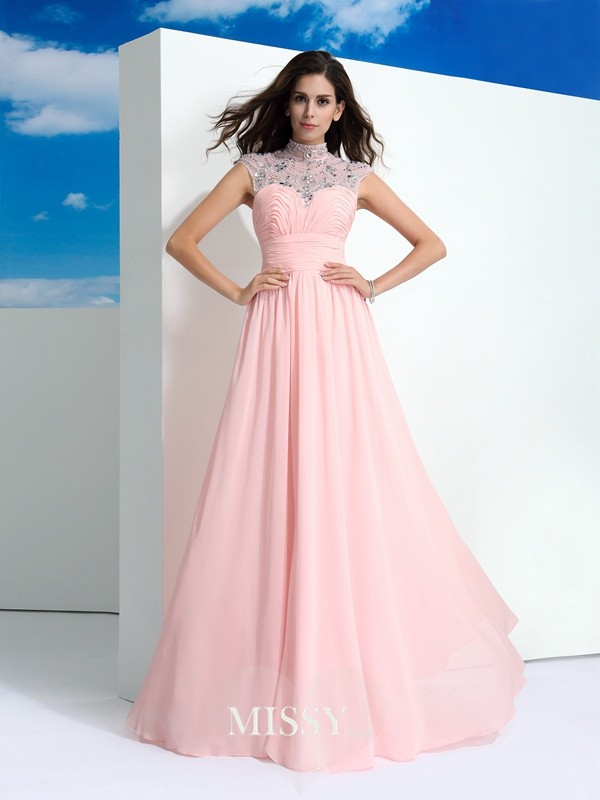 A-Line/Princess Sheer Neck Beading Sleeveless Floor-Length Chiffon Dress