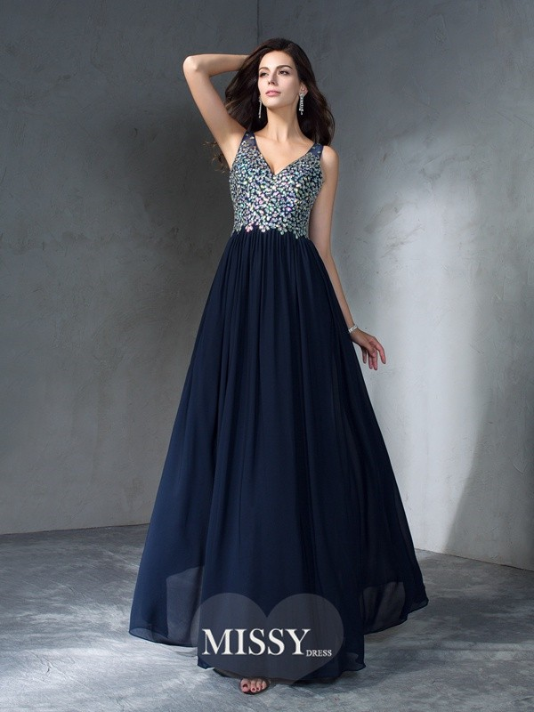 A-Line/Princess V-neck Sleeveless Beading Chiffon Dress