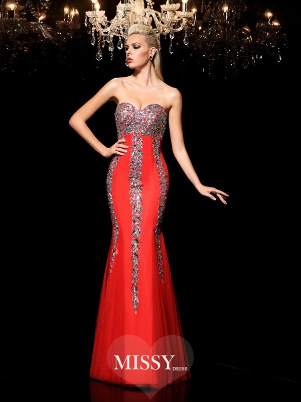 Sheath/Column Sweetheart Rhinestone Floor-Length Net Dresses